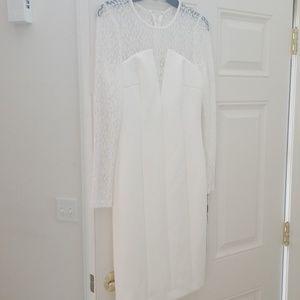 Calvin Klein Dresses - Calvin Klein  Petite Mesh Illusion Dress White